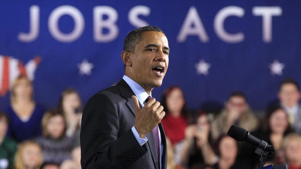 Obama giving speech on jobs act of 2012
